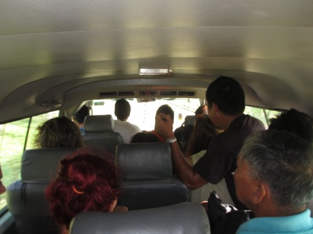 Picture taken during our minibus drive to El Nido. There are 4 people in the row of photographer and 2 more in the trunk ::: Toto je foto z cesty minibusom na El Nido. V rade fotografa su 4 ludia a dalsi 2 v kufri