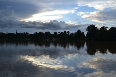 Day 1 of cruising the Kinabatangan river running through dense wildlife-filled rainforest ::: 1. den na rieke Kinabatangan, ktora preteka dazdovym pralesom plnym divokej zvery