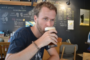 Mark sipping on a beer&espresso cocktail