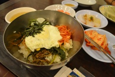 Bibimbap - rice with veggies. Kimchi right next to it